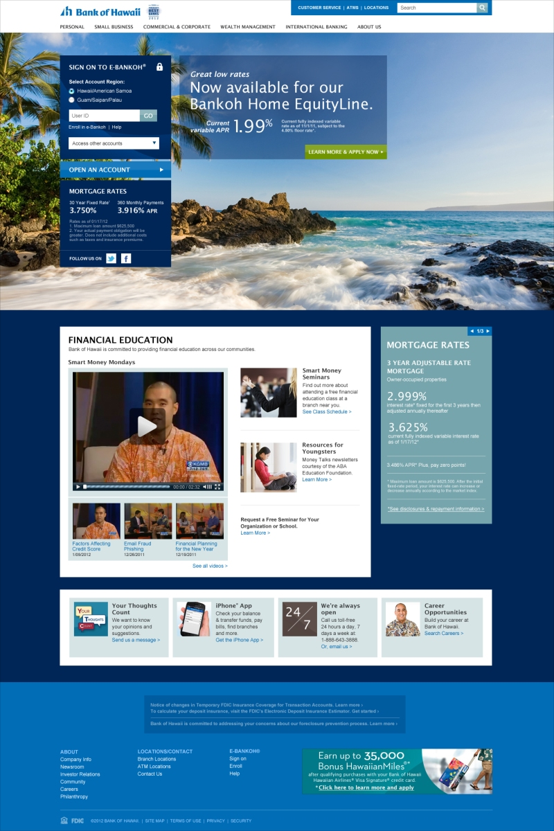 Bank of Hawaii Website
