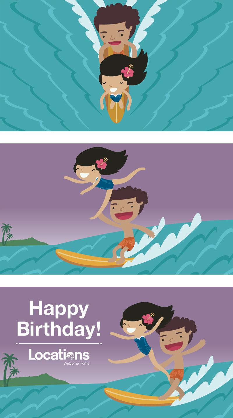Happy birthday surf (animation) - Locations LLC